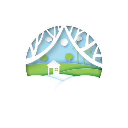 White house on nature scene landscape background.Ecology and environment conservation concept idea.Paper art style vector illustration.