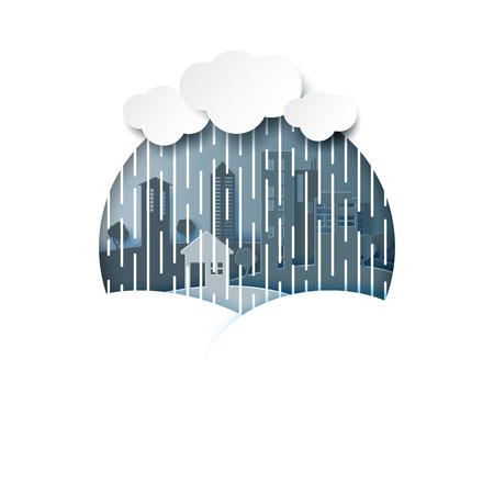 Monsoon background with rainy season and cityscape on raining day.Paper art style vector illustration.