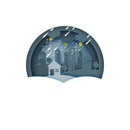 Raining day on the city.Rainy season monsoon background paper art style.Vector illustration.