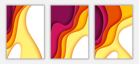 Paper wave layer with autumn color abstract background.Paper cut of vertical A4 cover design for business banner template and material design.Vector illustration. Ilustrace