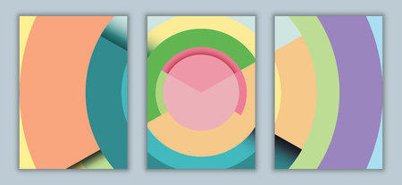 Geometric abstract background.Paper cut of vertical A4 cover design for business banner template and material design.Vector illustration. Ilustrace