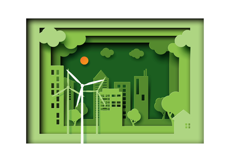 Paper art of green eco friendly urban city on nature landscape background.Ecology and environment conservation concept idea.Vector illustration.