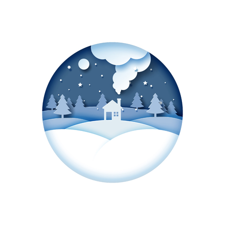 Night scene of winter season landscape for merry christmas and happy new year paper art style.Vector illustration.