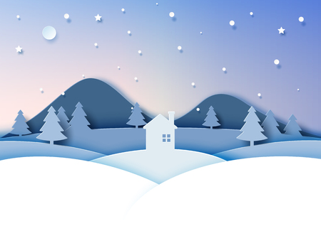 Night scene of winter season landscape for merry christmas and happy new year.Paper art style vector illustration.