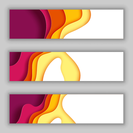 Paper wave layer with autumn color abstract background.Paper cut of cover design for business banner template and material design.Vector illustration.