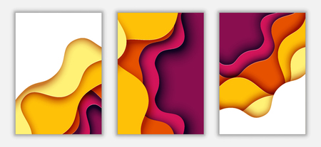Paper cut of autumn colors vertical A4 banner template abstract background.Vector illustration. Ilustrace