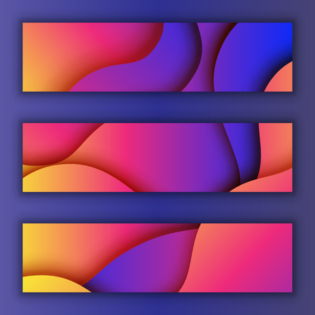 Colorful fluid gradient abstract background.Paper cut of cover design for business banner template and material design.Vector illustration.