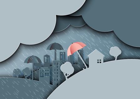 Raining day on the city. Rainy season monsoon background with umbrellas paper art style.Vector illustration.