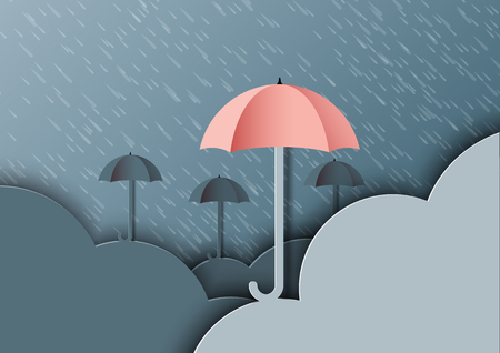 Origami umbrellas with clouds on monsoon background and rainy season.Paper art style vector illustration.