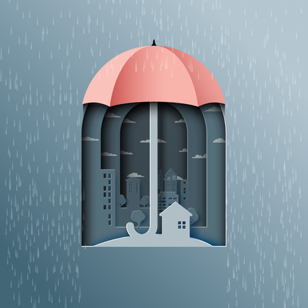 Monsoon background with umbrella protect the city from rain.Paper art style vector illustration.
