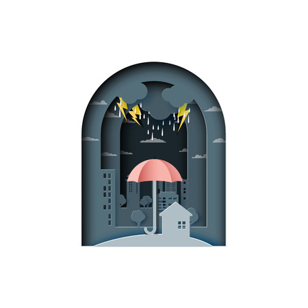 Monsoon background with umbrella protect the city from rain.Paper art style vector illustration. Vektorové ilustrace