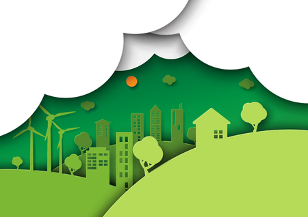 Green eco friendly city and urban life.Nature,ecology and environment conservation concept idea design.Paper art style vector illustration. Ilustrace