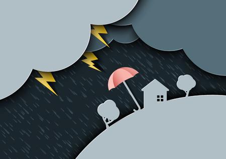 Raining day on rainy season monsoon background with umbrellas paper art style.Vector illustration.