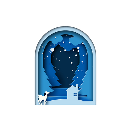 Deer and house on night of winter forest landscape for merry christmas and happy new year paper art style.Vector illustration. Ilustrace