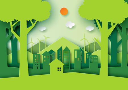 Green eco friendly city and nature forest landscape.Ecology and environment conservation concept idea design.Paper art style vector illustration.