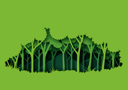 Eco green nature forest background template.Ecology and environment conservation creative idea concept paper art style.Vector illustration. Vetores