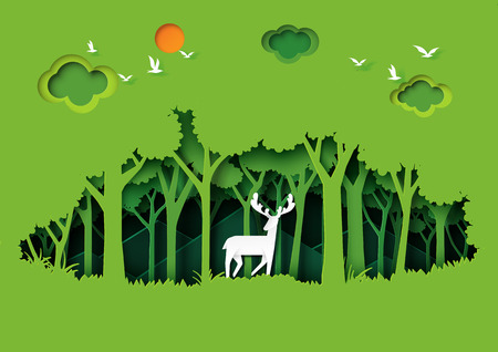 Deer wildlife and eco green nature forest background template.Ecology and environment conservation creative idea concept paper art style.Vector illustration.