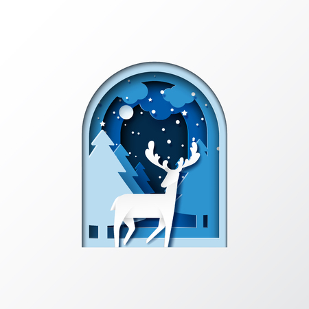 Deer on night of winter forest landscape for merry christmas and happy new year concept paper art style.Vector illustration.