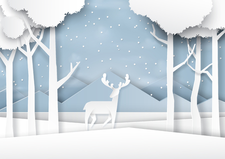 Deers on snow and winter season forest landscape background paper art style for merry christmas and happy new year.Vector illustration.