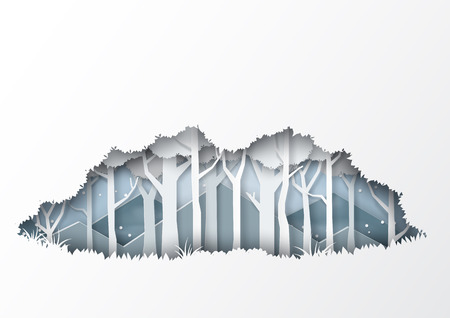 Winter season forest silhouette background paper art style for merry christmas and happy new year.Vector illustration. Ilustrace