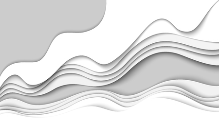 White paper wave layer abstract background.Paper cut of cover design for business banner template and material design.Vector illustration.