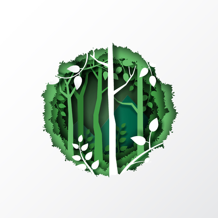 Nature concept with paper cut of green leaf and forest silhouette landscape abstract background.Paper art style vector illustration. Ilustrace