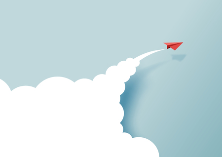Red paper airplanes flying on blue sky and cloud.Paper art style of business success and leadership creative concept idea.Vector illustration