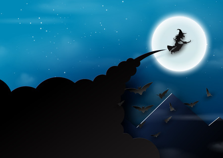 Paper art of halloween night background.The witch,bats and full moon.Vector illustration. Vettoriali