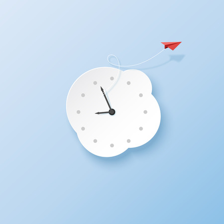 Business and hurry up concept with red paper airplane and clock to time running paper art style.Vector illustration.