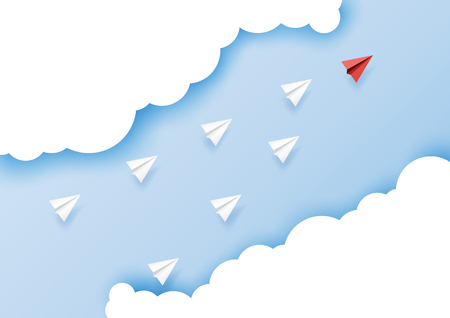 Paper airplanes flying on blue sky.Paper art style of business leadership and teamwork creative concept idea.Vector illustration. Ilustrace