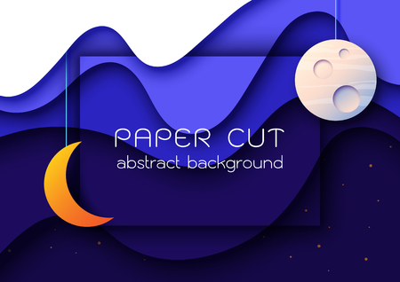 Night sky scenery paper cut abstract background.Vector illustration.