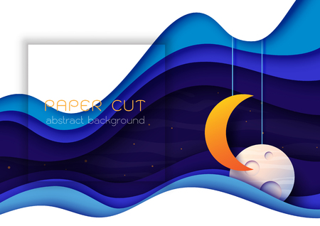 Night sky scenery paper cut abstract background.Vector illustration. Illustration