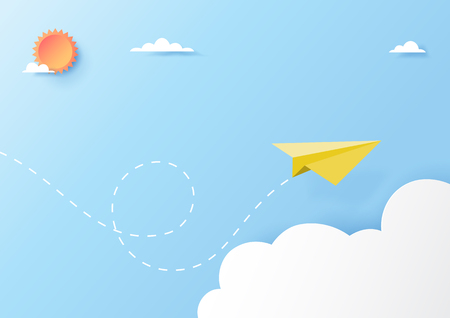 Yellow paper airplane flying on clouds and blue sky paper art style.Vector illustration. 向量圖像