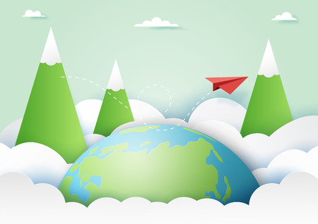Travel around the world and adventure concept with red paper airplane flying on nature landscape background paper art style.Vector illustration.