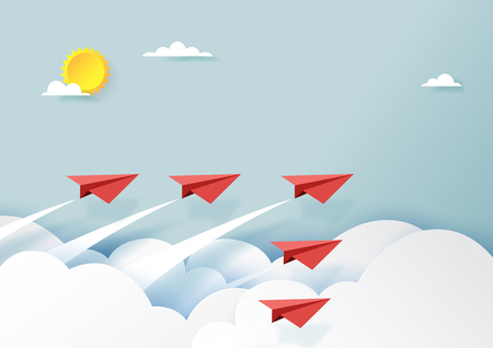 Red paper airplanes teamwork flying on blue sky and cloud.Paper art style of business teamwork and leadership creative concept idea.Vector illustration