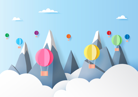Colorful hot air balloons floating on mountains,clouds and blue sky paper art style.Vector illustration.