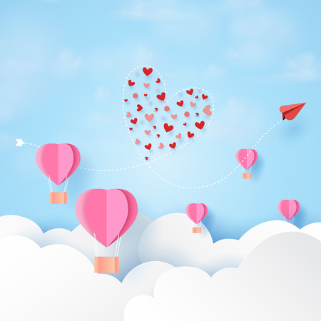 Love concept and Happy Valentines Day greeting card template.Red airplane and pink paper airplane floating on clouds and blue sky paper art style.Vector illustration.