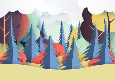 Autumn and colorful forest nature landscape paper art style.Vector illustration.