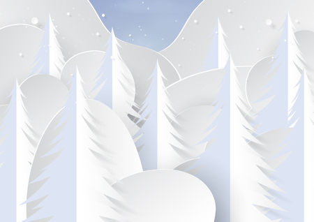Snow and pine trees on winter season landscape background for merry christmas and happy new year paper art style.Vector illustration. 向量圖像