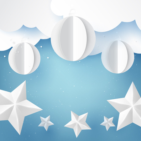 Stars and christmas ball on blue sky winter season background for merry christmas and happy new year paper art style.Vector illustration. Ilustrace