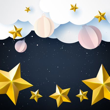 Stars and christmas ball on night sky winter season background for merry christmas and happy new year paper art style.Vector illustration.
