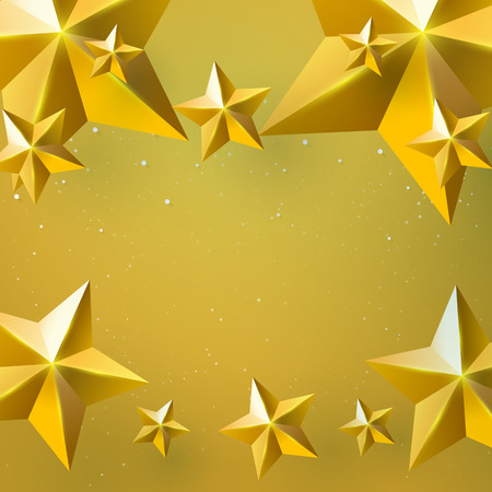 Golden stars on golden background with christmas concept for merry christmas and happy new year paper art style.Vector illustration.
