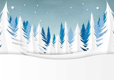 Snow and pine forest on winter season landscape background for merry christmas and happy new year paper art style.Vector illustration.