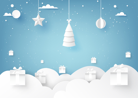 Stars,christmas tree and christmas ball hanging on blue sky winter season background for merry christmas and happy new year paper art style.Vector illustration.