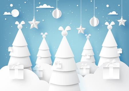 Stars,christmas ball and christmas trees on blue sky winter season background for merry christmas and happy new year paper art style.Vector illustration. 向量圖像