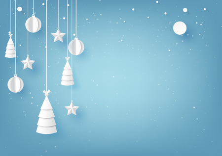 Stars,christmas trees and christmas ball hanging on blue sky winter season background for merry christmas and happy new year paper art style.Vector illustration.