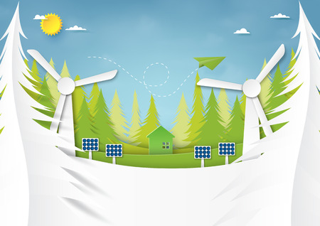 Ecology and environment conservation creative idea concept design.Green energy and nature landscape background paper art style.Vector illustration.