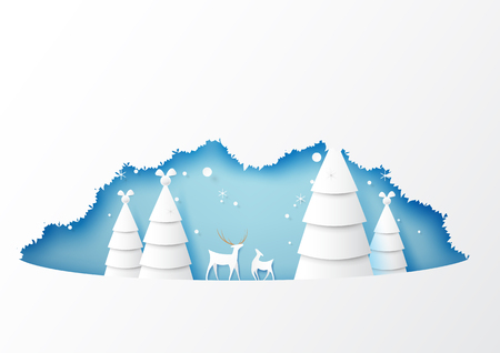 Winter season with origami christmas trees and deers wildlife background paper art style for merry christmas and happy new year.Vector illustration. Ilustrace