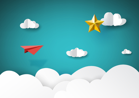 Rode papieren vliegtuigje vliegen naar gouden ster papier kunststijl van succes creatief idee bedrijfsconcept. Vectorillustratie.