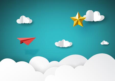 Rotes Papierflugzeug, das zum goldenen Sternpapierkunststil des kreativen Ideenkonzepts des Geschäftserfolgs fliegt.